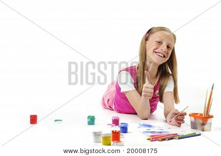 Girl With pencil On White Background