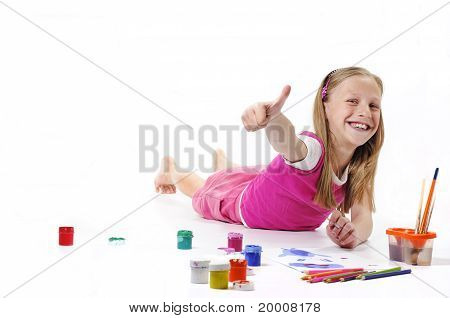 Happy Girl With Brush On White Background