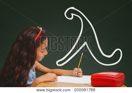 Digital composite of Student girl at table writing against green blackboard with school and education graphic
