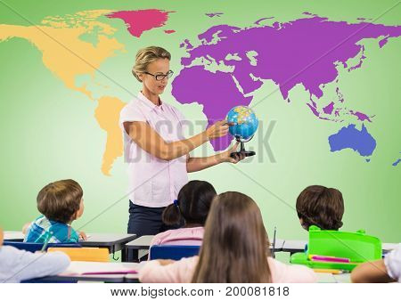 Digital composite of Kids in class with teacher holding globe in front of colorful world map