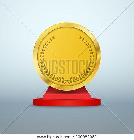 Winner background. Podium with golden trophy award. Vector illustration.