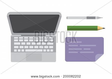 Workplace with mobile devices and documents. Office personal and Business Icons vector set. work table with gadget laptop flat illustration iolated