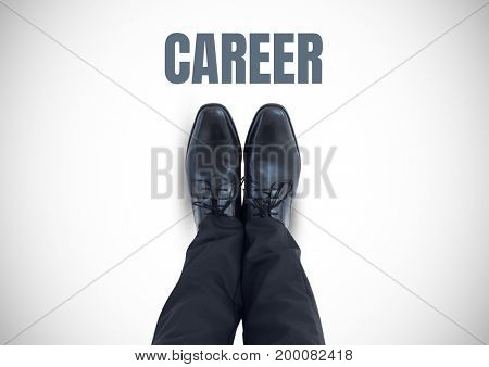 Digital composite of Career text and Black shoes on feet with white background