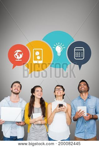 Digital composite of Business people with speech bubbles looking up against grey background