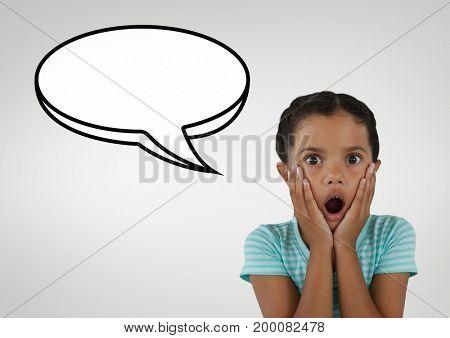 Digital composite of Surprised student girl with speech bubble against grey background