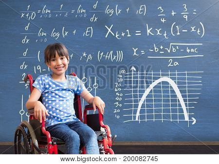 Digital composite of Disabled girl in wheelchair in front of blackboard with math equations