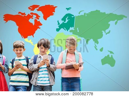 Digital composite of Kids on devices in front of colorful world map