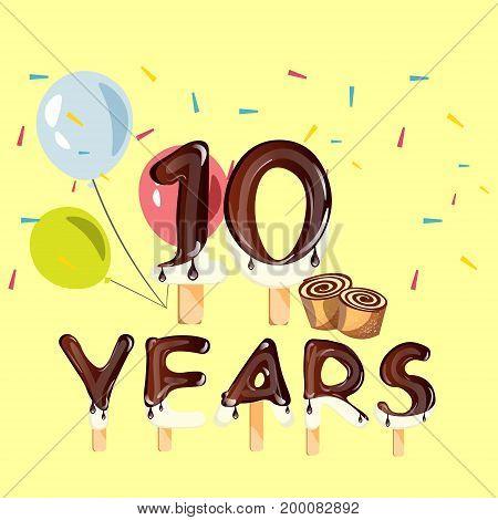 10 Years Anniversary celebration logo, birthday. Vector illustration