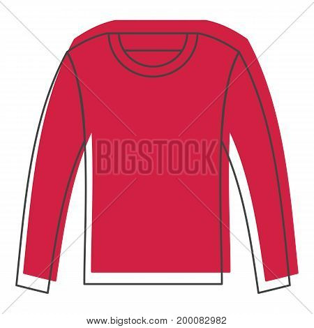 Red shirt with long sleeves in doodle style icons vector illustration for design and web isolated on white background. Shirt with long sleeves vector object for labels and logo