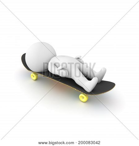 3D Character lying down on a skateboard. Isolated on white.