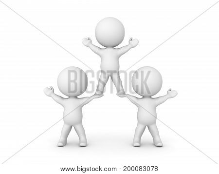 3D illustration conveying the concept of teamwork. One character is sitting on the hands of two other characters.