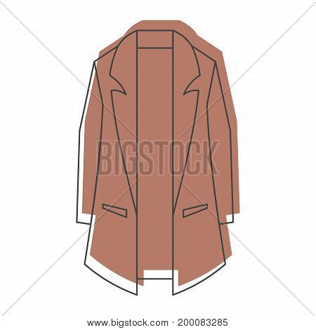 Brown overcoat in doodle style icons vector illustration for design and web isolated on white background. Overcoat vector object for labels and logo