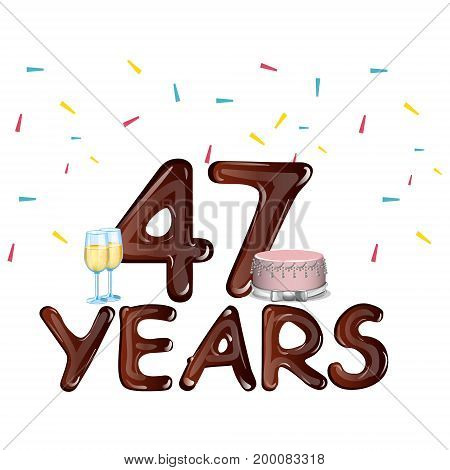 48 Years Anniversary celebration card with cake. Vector illustration