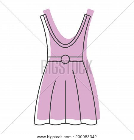 Pink dress in doodle style icons vector illustration for design and web isolated on white background. Pink dress vector object for labels and logo