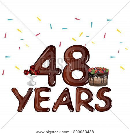 48 Years Anniversary celebration with flowers and cake. Vector illustration