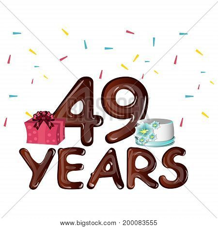 49th Years greeting card with gift. Vector illustration