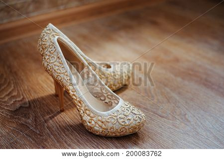 The Beautiful Beige Shoes Stand On The Floor
