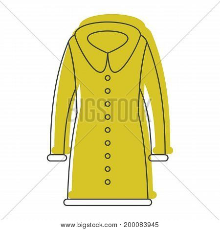 Coat fashion in doodle style icons vector illustration for design and web isolated on white background. Coat fashion vector object for labels and logo