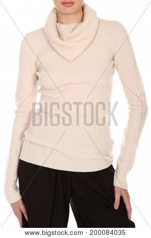Women's sweaters with long sleeves isolated on white background