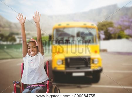 Digital composite of Disabled girl in wheelchair in front of school bus