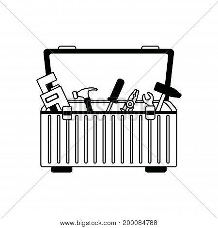 tools box with carpentry equipment instruments construction vector illustration