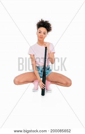 African American Girl With Baseball Bat