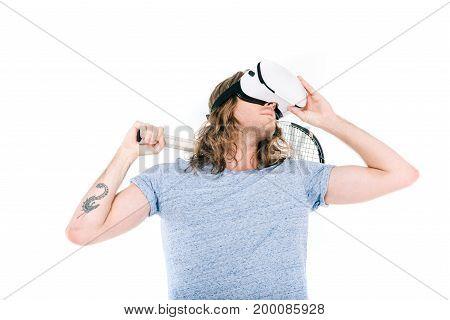 Man Playing Tennis In Virtual Reality