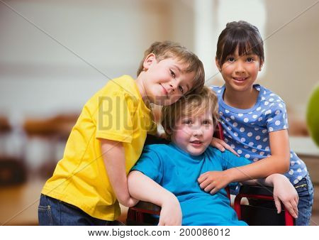Digital composite of Disabled boy in wheelchair with friends in school classroom