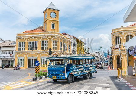 PHUKET THAILAND -MAY 3 2017 Phuket town Thailand: Phuket old town with old buildings in Sino Portuguese style restoration is a very famous tourist destination of Phuket.