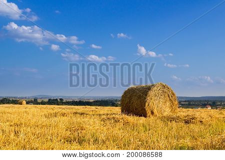 After the wheat harvest a bale of hay in the field