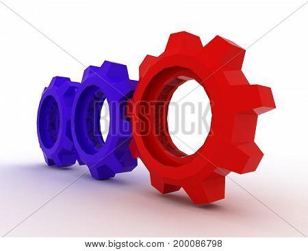 gears concept . work . 3d rendered illustation