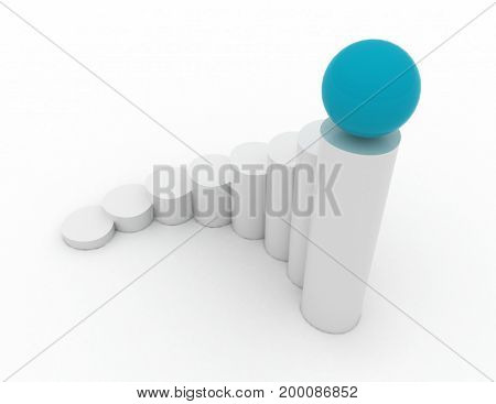 business chart with ball . 3d rendered illustation