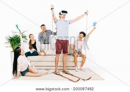 Multiethnic Friends In Virtual Reality