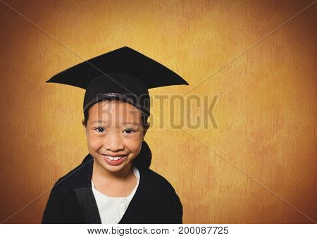 Digital composite of Girl in graduation wear with rustic background