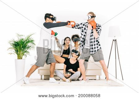 Friends Boxing In Virtual Reality Headsets