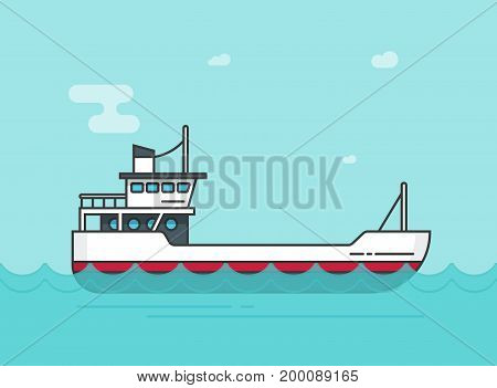 Ship empty vector illustration, flat cartoon boat sailing on sea or ocean water line outline style, vessel floating