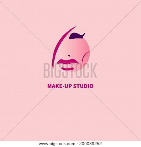 Logo of beauty salon. Icon Studio lashes. Stylized female face with makeup. Vector illustration