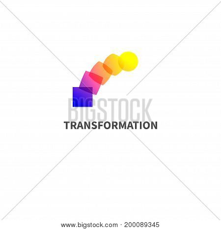Logo change, transformation. Business icon, innovation, development. Vector illustration of circle turns into square