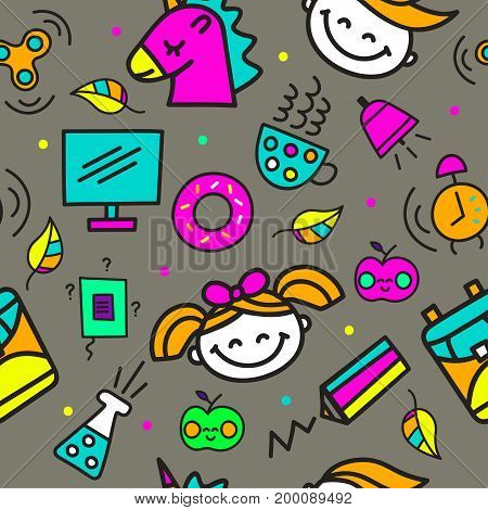Seamless school pattern. Day of knowledge. Set hand drawn color icons - girl, boy, apple, book, pencil, backpack, unicorn, spinner, donut, tube. Vector illustration