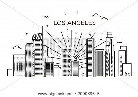 Minimal Los Angeles Linear Skyline. Line art