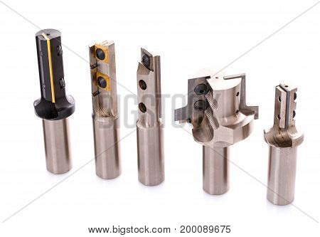 Professional drill set for automatic machine processing of wood. milling cutter. isolated on white