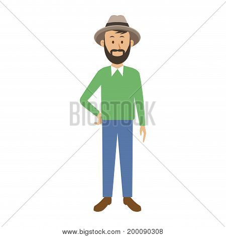 smiling man in casual clothes with arms waist standing vector illustration