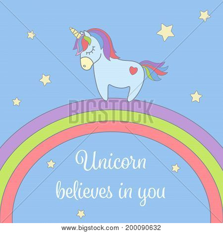 Cute unicorn and rainbow with stars greeting card. Magical unicorn vector illustration poster