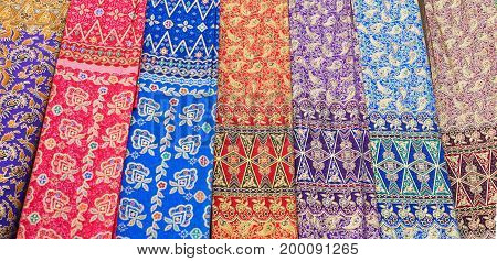 Traditional indonesian colorful sarongs at the market. Bali Indonesia.