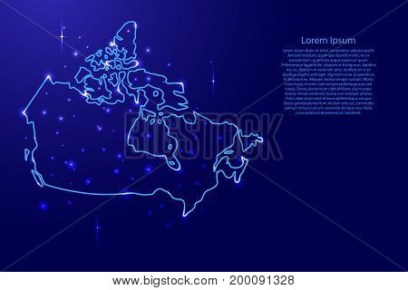 Map Canada from the contours network blue luminous space stars of vector illustration