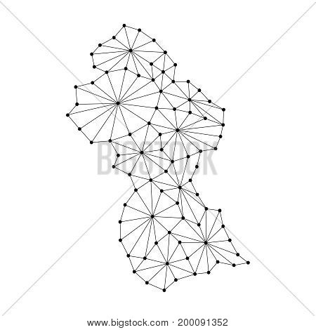 Guyana map of polygonal mosaic lines network rays and dots vector illustration.