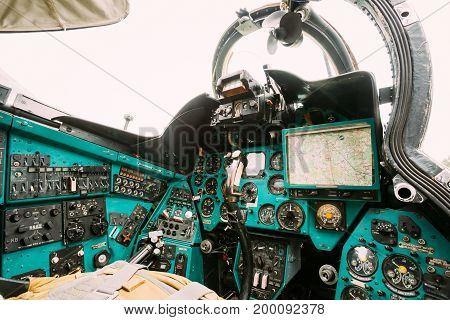 Dashboard In A Russian Soviet Helicopter Cockpit. Large Helicopter Gunship And Attack Helicopter And Low-capacity Troop Transport.