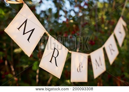 Wedding Sign On The Flags