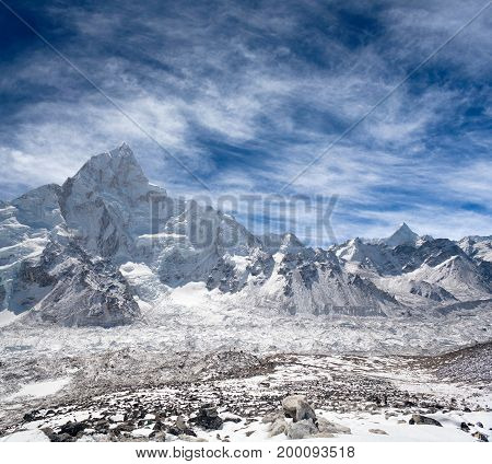 Nuptse peak and Khumbu glacier - Himalaya mountain landscape in Everest region, Sagarmatha National Park, Nepal