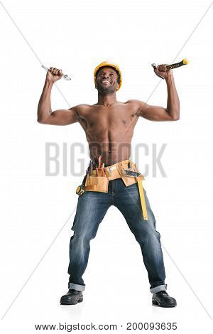 Shirtless Handsome Afro Builder
